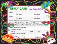 REPLY CARD Due: Friday, 2/17/12