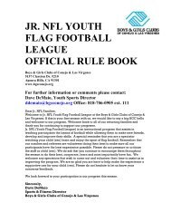 JR NFL YOUTH FLAG FOOTBALL LEAGUE OFFICIAL RULE BOOK