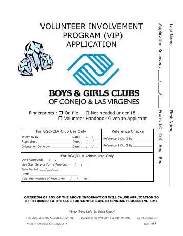 Volunteer Application Form. - Boys & Girls Clubs