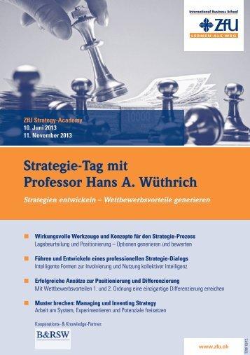 Strategie-Tag mit Professor Hans A. Wüthrich - ZfU