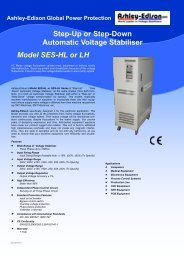 Step-Up or Step-Down Automatic Voltage Stabiliser Model SES-HL or LH