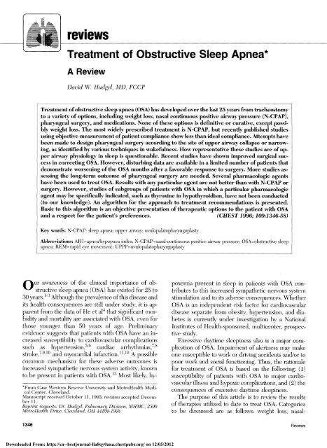 "Treatment of Obstructive Sleep Apnea"""