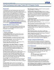 Visa Purchasing Card Large Ticket (PLT) Program Guide