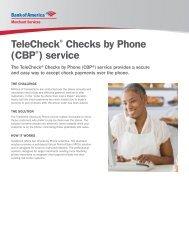 TeleCheck Checks by Phone (CBP ) service