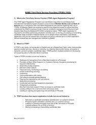 BAMS Third Party Service Providers (TPSPs) FAQs