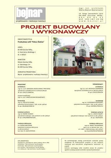 """projektowanie i realizacja inwestycji Przebudowa willi """"Pałacu ..."""