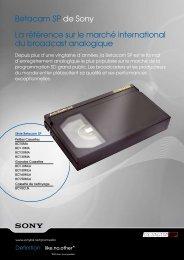 Betacam SP de Sony La référence sur le marché international du ...