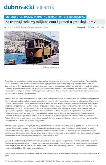 Za tramvaj treba 25 milijuna eura i pameti u gradskoj upravi