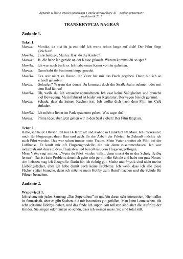 Zadanie 1 TRANSKRYPCJA NAGRAŃ Zadanie 2