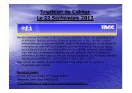 Triathlon de Colmar Le 22 Septembre 2013