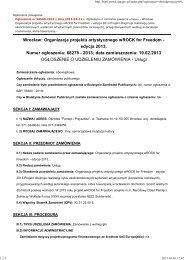 Organizacja projektu artystycznego wROCK for Freedom - Ośrodek ...