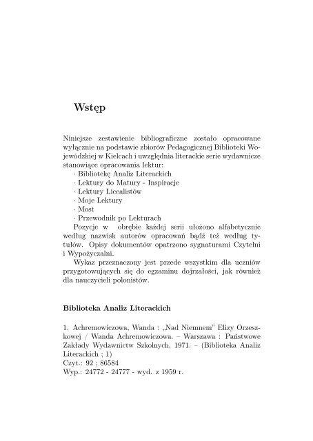 Opracowania lektur - literackie serie wydawnicze - Pedagogiczna ...