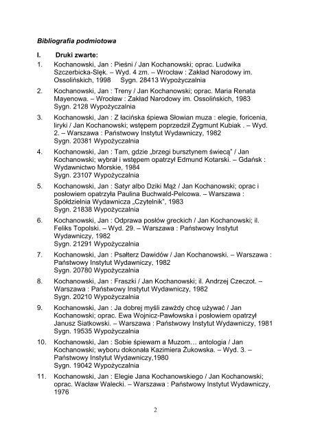 Twórczość Jana Kochanowskiego - Pedagogiczna Biblioteka ...