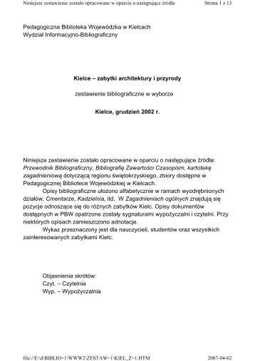 zabytki architektury i przyrody - Pedagogiczna Biblioteka ...