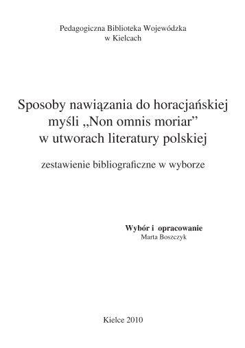 """""""Non omnis moriar"""" w utworach literatury polskiej - Pedagogiczna ..."""