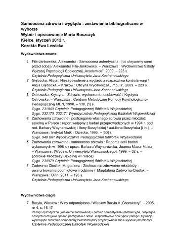 Samoocena zdrowia i wyglądu : zestawienie bibliograficzne ... - Kielce
