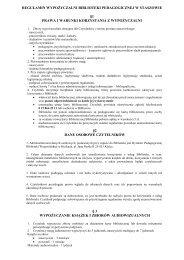 regulamin wypożyczalni biblioteki pedagogicznej w staszowie - Kielce