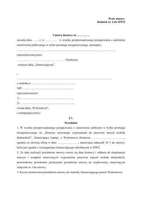 Wzór umowy Dodatek nr 4 do SIWZ Umowa dostawy nr ...