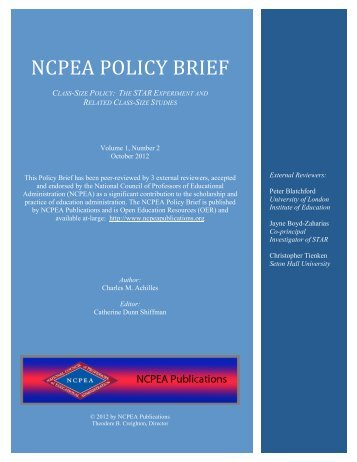 NCPEA POLICY BRIEF