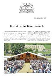 Bericht von der Klosterbaustelle