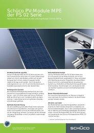 Schüco PV-Module MPE der PS 02 Serie - Zon Energie