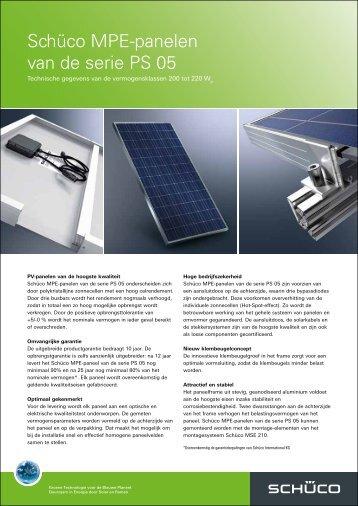 Schüco MPE-panelen van de serie PS 05 - Zon Energie