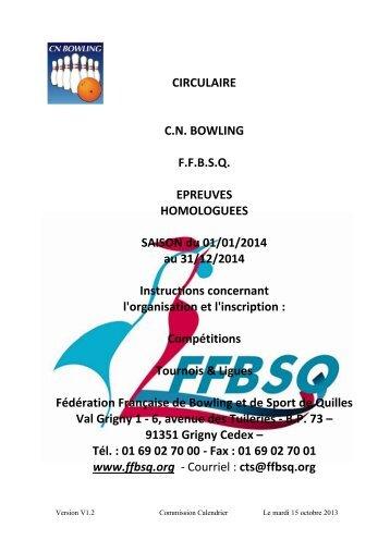 La Circulaire des Compétitions Homologuées 2014 Mise à jour du ...