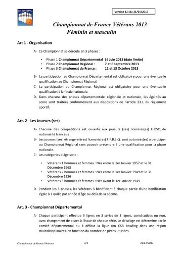 Championnat de France Vétérans 2013 Féminin et masculin