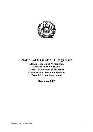 National Essential Drugs List - World Health Organization