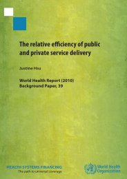 The relative efficiency of public and private service delivery Justine ...