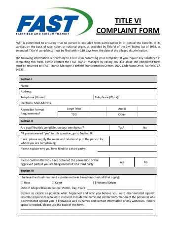 Title VI Civil Rights Complaint Form Section I Name ... - Citilink