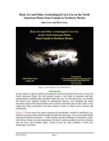 Rock Art and Other Archeological Cave Use on the North American ...