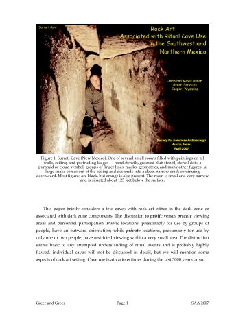 Rock Art Associated with Ritual Cave Use in the Southwest and ...