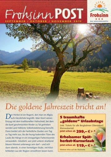 Die goldene Jahreszeit bricht an! - Wohlfühlhotel Frohsinn