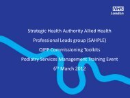 Strategic Health Authority Allied Health Professional Leads group ...