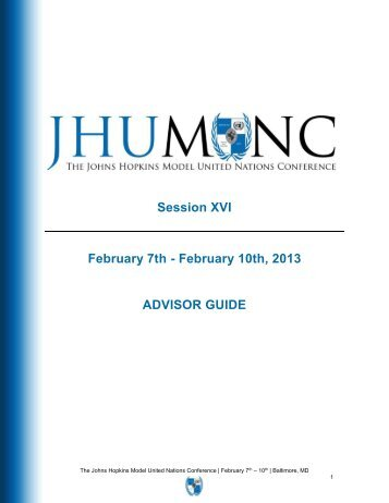 Session XVI February 7th - February 10th 2013 ADVISOR GUIDE