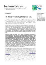 10 Jahre Tourismus Untersee - Tourismus Untersee e.V.