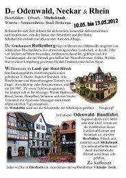 Der Odenwald, Neckar & Rhein - Friebel Reisen