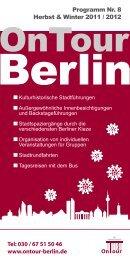 Programm Nr. 8 Herbst & Winter 2011 / 2012 Tel ... - OnTour-Berlin