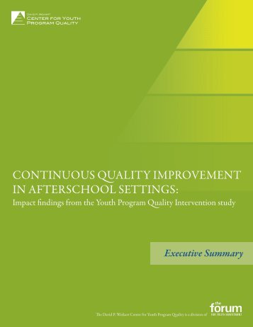 CONTINUOUS QUALITY IMPROVEMENT IN AFTERSCHOOL SETTINGS