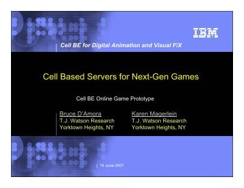 Cell Based Servers for Next-Gen Games