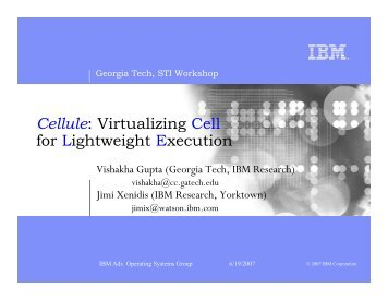 Cellule Virtualizing Cell for Lightweight Execution