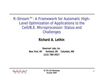 A Framework for Automatic High- Level Optimization of Applications ...