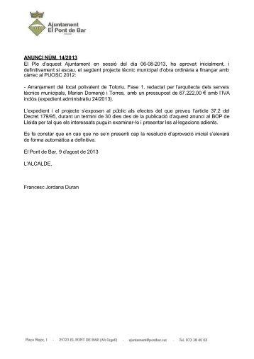 Anunci_14_2013.pdf - Ajuntament de Pont de Bar
