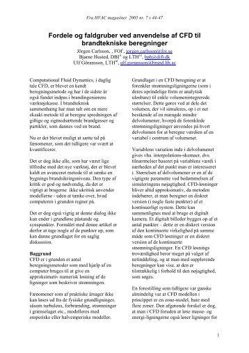 Fordele og faldgruber ved anvendelse af CFD til brandtekniske beregninger