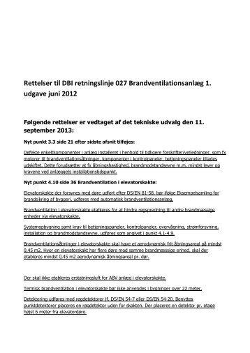 Rettelser til DBI retningslinje 027 Brandventilationsanlæg 1 udgave juni 2012