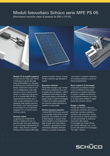 Moduli fotovoltaici Schüco serie MPE PS 05