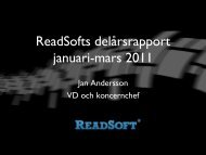 ReadSofts delårsrapport januari-mars 2011