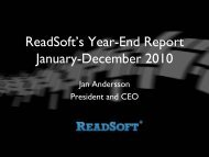 ReadSoft's Year-End Report January-December 2010