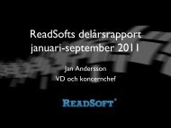 ReadSofts delårsrapport januari-september 2011
